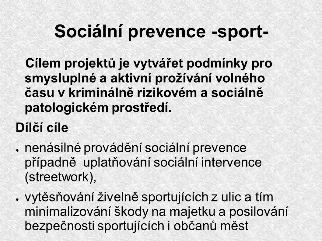 Sociální prevence -sport- Dílčí cíle ● zpřístupňování sportovních aktivit i pro sociálně handicapované zájemce, ● podchycování zájmu o sport a jeho využití pro pozitivní změnu životního stylu, ● nenásilný způsob výchovy k respektování přijatých pravidel, ● efektivnější využití již existujících zařízení (školní hřiště), ● zlepšování životního prostředí v zanedbaných a rizikových lokalitách