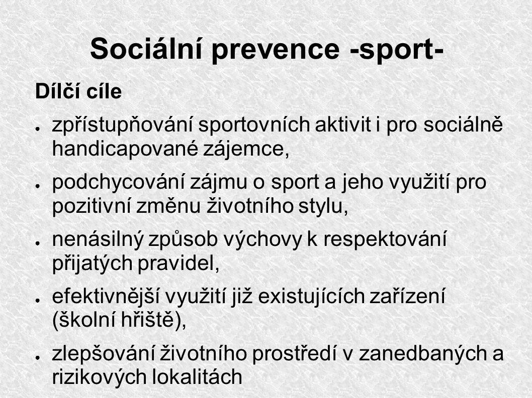 Sociální prevence -sport- Dílčí cíle ● zpřístupňování sportovních aktivit i pro sociálně handicapované zájemce, ● podchycování zájmu o sport a jeho vy