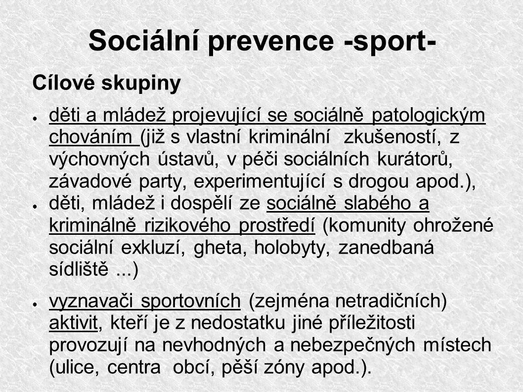 Sociální prevence -sport- Cílové skupiny ● děti a mládež projevující se sociálně patologickým chováním (již s vlastní kriminální zkušeností, z výchovn