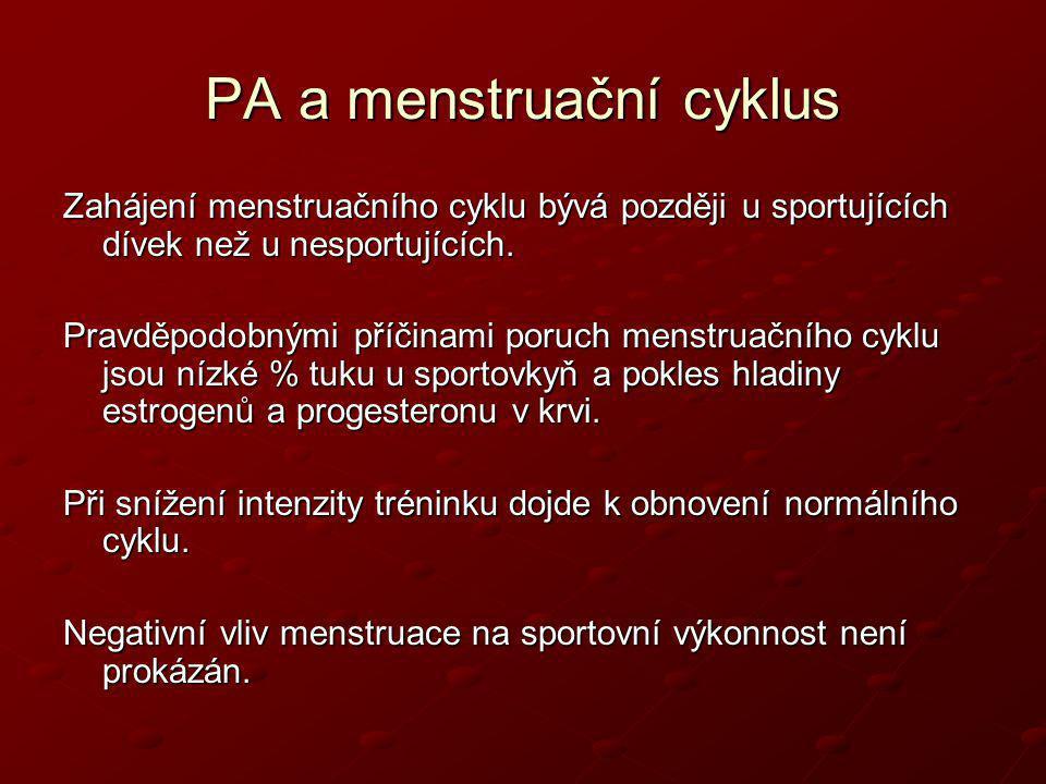 PA a menstruační cyklus Zahájení menstruačního cyklu bývá později u sportujících dívek než u nesportujících. Pravděpodobnými příčinami poruch menstrua