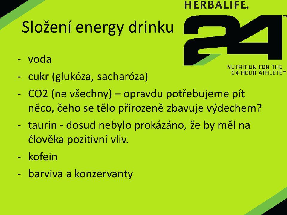 Složení energy drinku - voda -cukr (glukóza, sacharóza) -CO2 (ne všechny) – opravdu potřebujeme pít něco, čeho se tělo přirozeně zbavuje výdechem? -ta