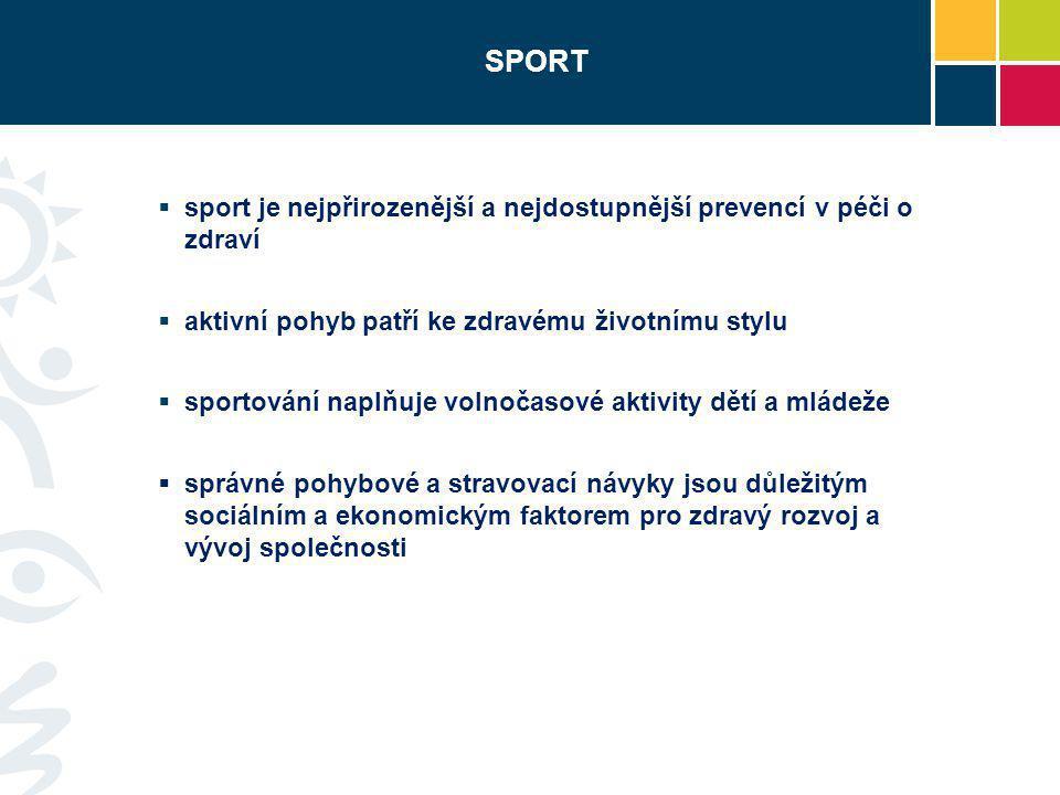  sport je nejpřirozenější a nejdostupnější prevencí v péči o zdraví  aktivní pohyb patří ke zdravému životnímu stylu  sportování naplňuje volnočaso