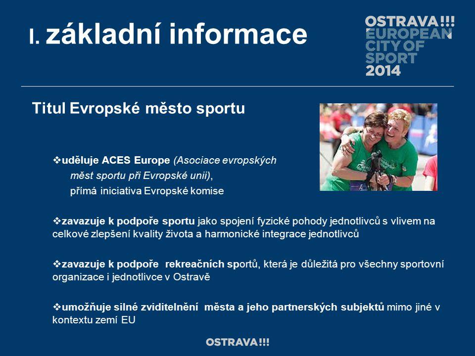I. základní informace Titul Evropské město sportu  uděluje ACES Europe (Asociace evropských měst sportu při Evropské unii), přímá iniciativa Evropské