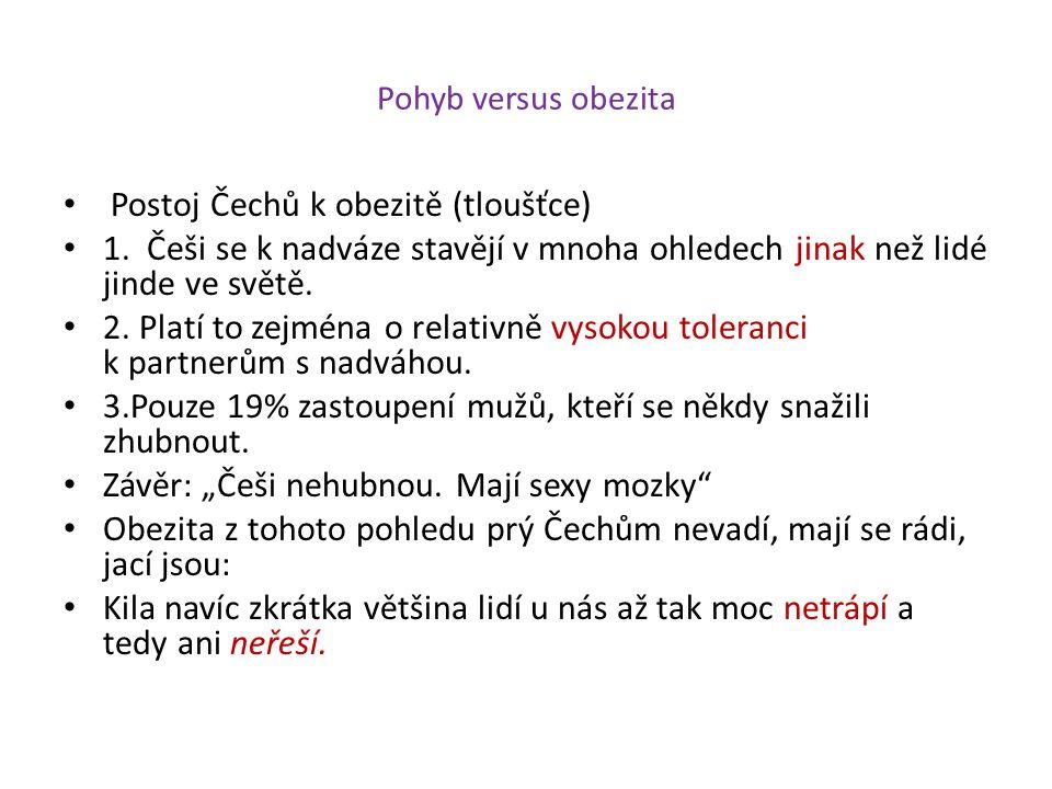 Pohyb versus obezita Postoj Čechů k obezitě (tloušťce) 1. Češi se k nadváze stavějí v mnoha ohledech jinak než lidé jinde ve světě. 2. Platí to zejmén