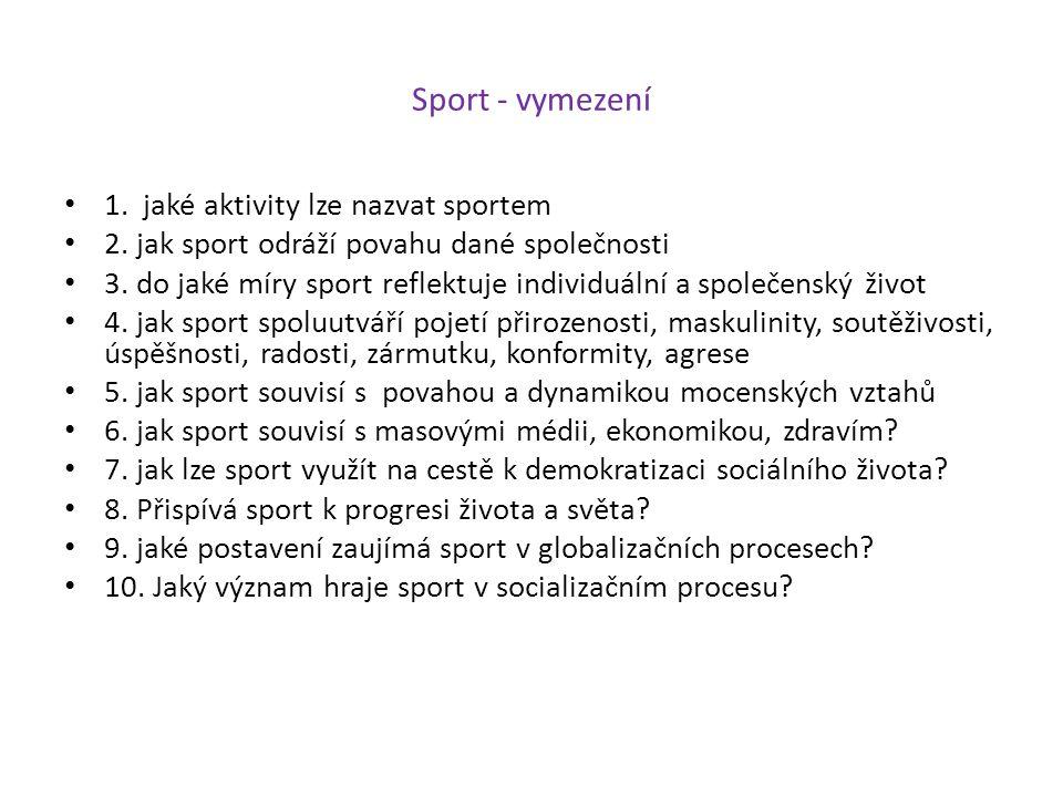 Sport - vymezení 1. jaké aktivity lze nazvat sportem 2. jak sport odráží povahu dané společnosti 3. do jaké míry sport reflektuje individuální a spole