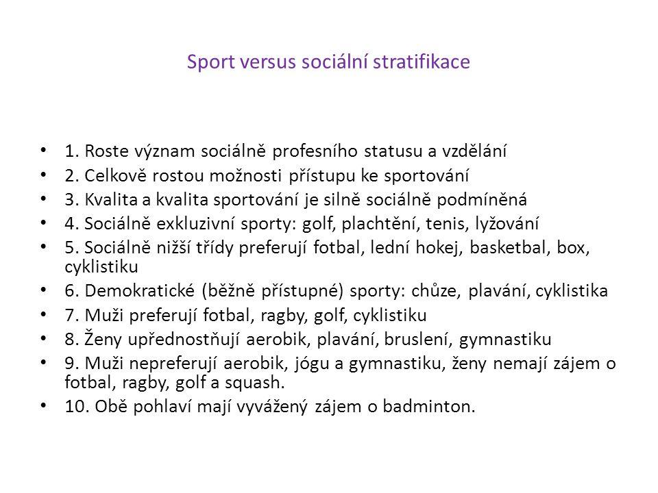 Sport versus sociální stratifikace 1. Roste význam sociálně profesního statusu a vzdělání 2. Celkově rostou možnosti přístupu ke sportování 3. Kvalita