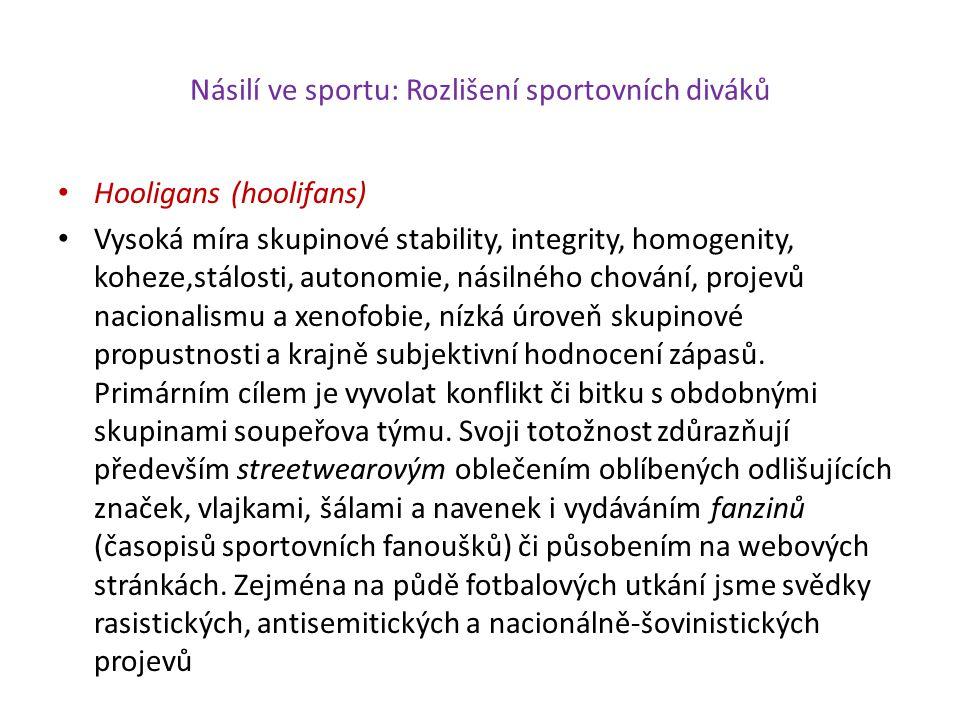 Násilí ve sportu: Rozlišení sportovních diváků Hooligans (hoolifans) Vysoká míra skupinové stability, integrity, homogenity, koheze,stálosti, autonomi