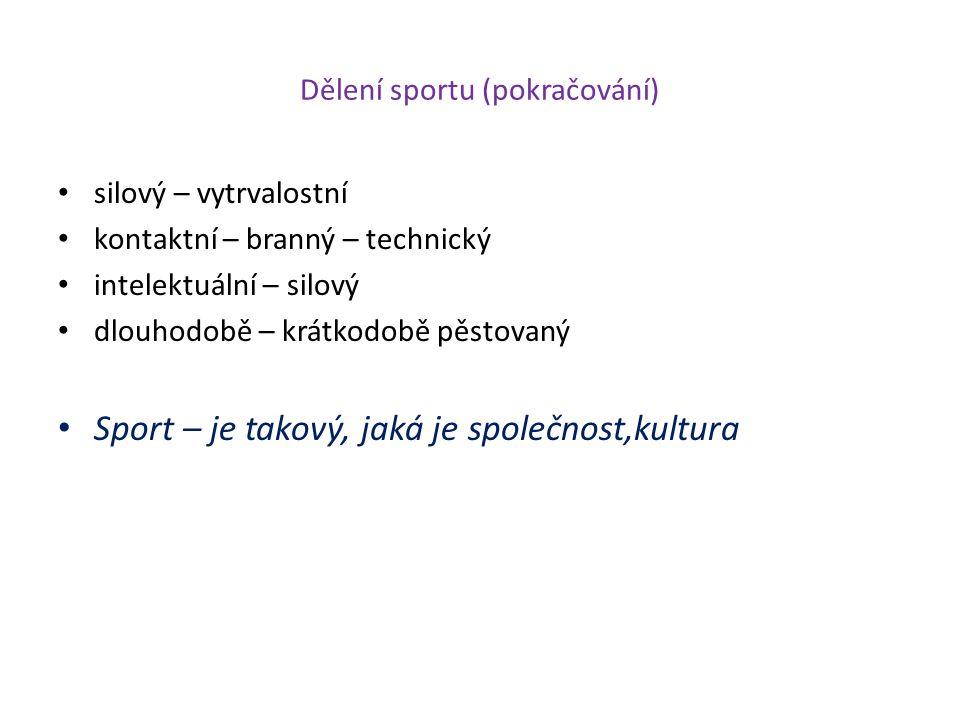 Kategorizace sportu 1.