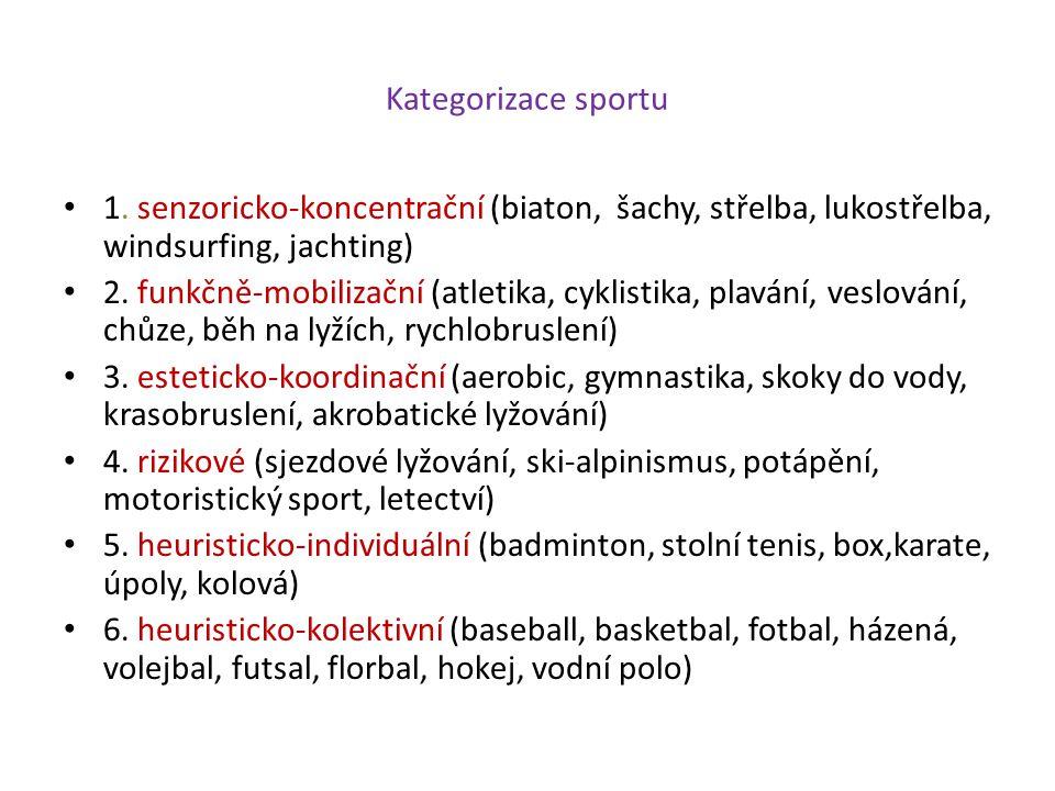 Kategorizace sportu 1. senzoricko-koncentrační (biaton, šachy, střelba, lukostřelba, windsurfing, jachting) 2. funkčně-mobilizační (atletika, cyklisti