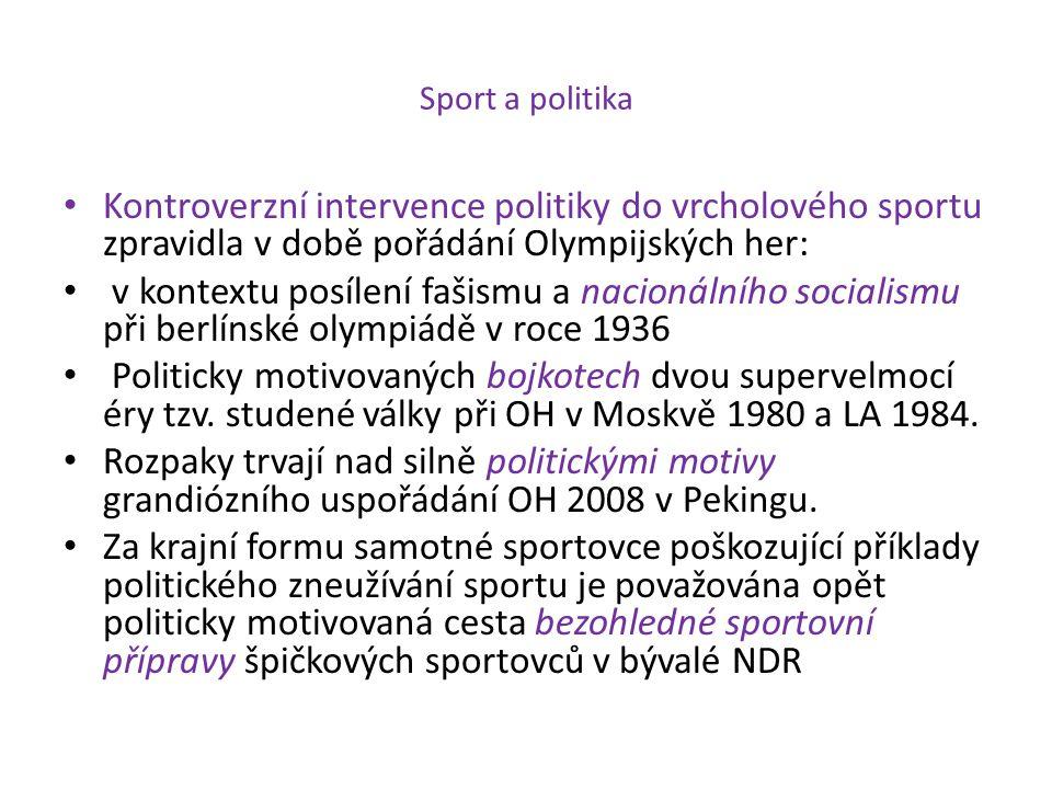 Sport a politika Kontroverzní intervence politiky do vrcholového sportu zpravidla v době pořádání Olympijských her: v kontextu posílení fašismu a naci
