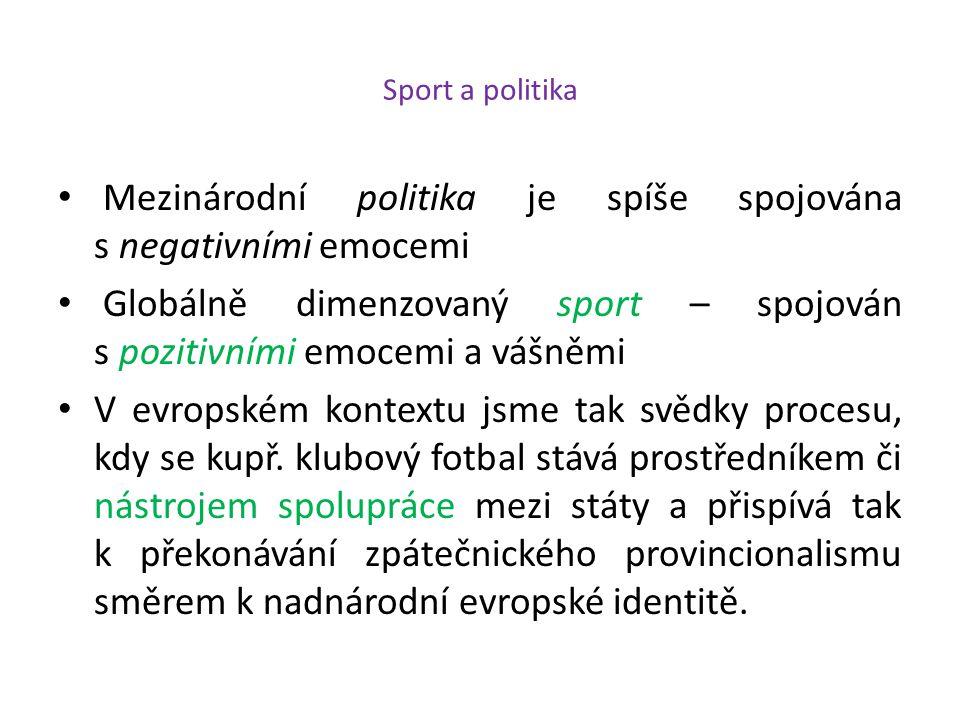 Sport a politika Mezinárodní politika je spíše spojována s negativními emocemi Globálně dimenzovaný sport – spojován s pozitivními emocemi a vášněmi V