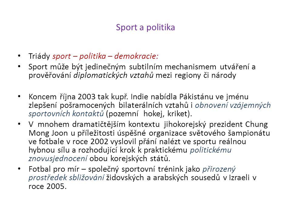 Sport a politika Triády sport – politika – demokracie: Sport může být jedinečným subtilním mechanismem utváření a prověřování diplomatických vztahů me