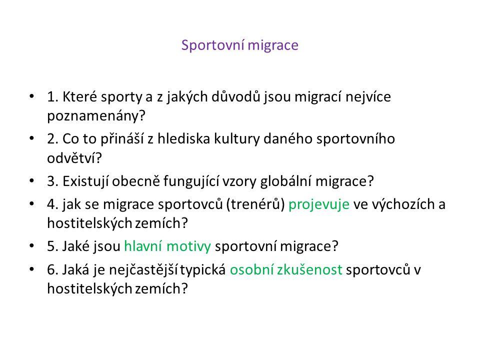 Sportovní migrace 1. Které sporty a z jakých důvodů jsou migrací nejvíce poznamenány? 2. Co to přináší z hlediska kultury daného sportovního odvětví?