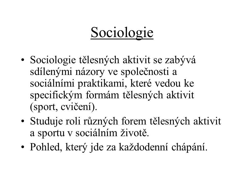 Sociologie Sociologie tělesných aktivit se zabývá sdílenými názory ve společnosti a sociálními praktikami, které vedou ke specifickým formám tělesných