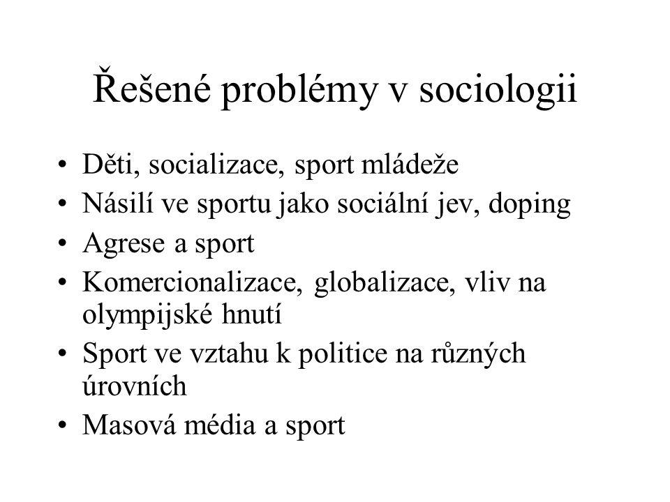 Řešené problémy v sociologii Děti, socializace, sport mládeže Násilí ve sportu jako sociální jev, doping Agrese a sport Komercionalizace, globalizace,