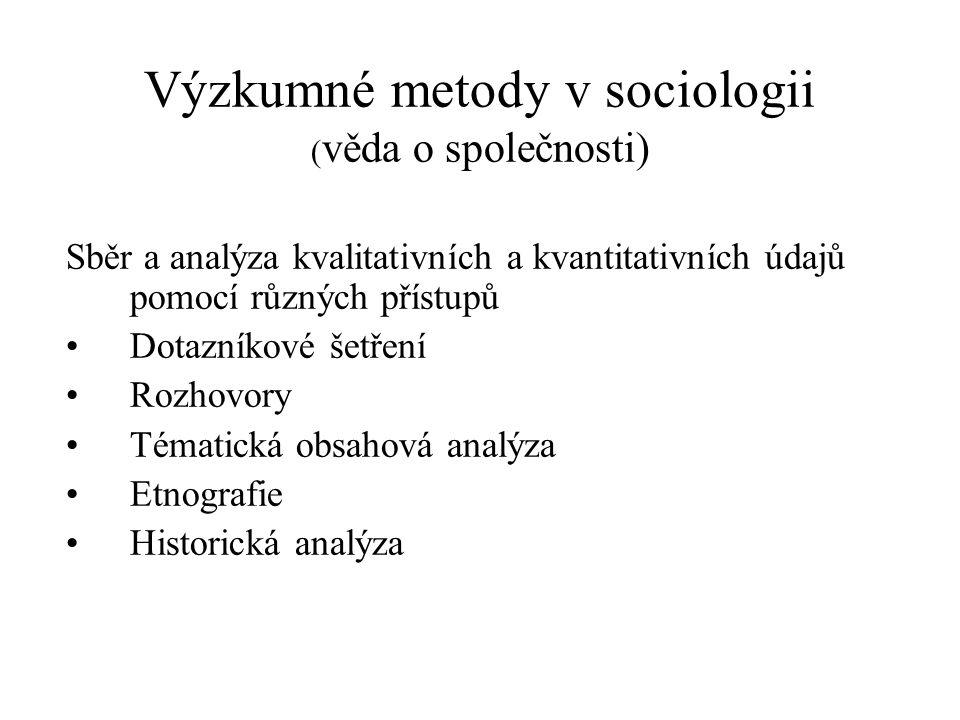 Výzkumné metody v sociologii ( věda o společnosti) Sběr a analýza kvalitativních a kvantitativních údajů pomocí různých přístupů Dotazníkové šetření R