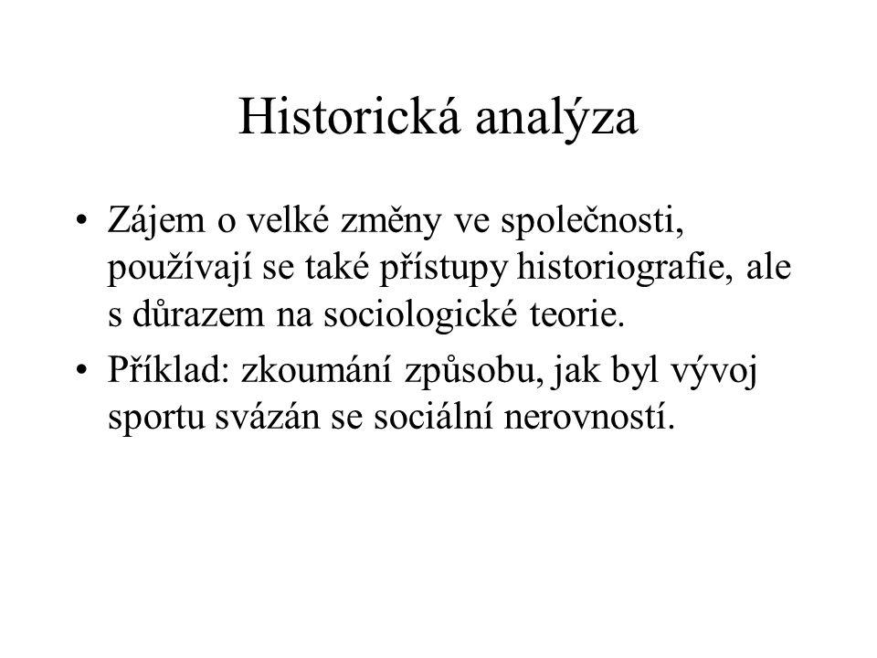 Historická analýza Zájem o velké změny ve společnosti, používají se také přístupy historiografie, ale s důrazem na sociologické teorie. Příklad: zkoum