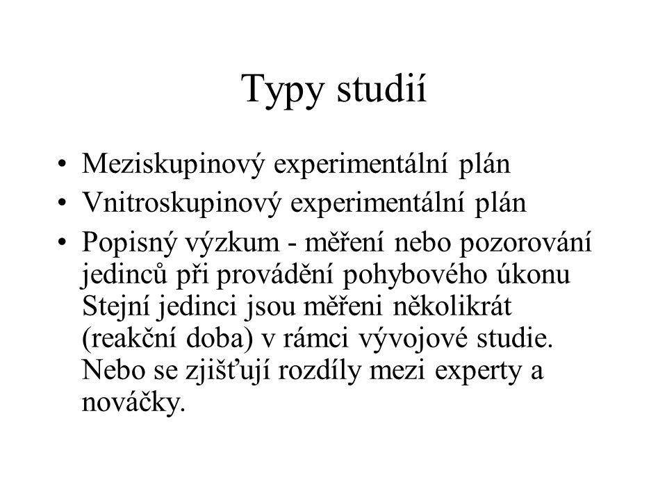 Typy studií Meziskupinový experimentální plán Vnitroskupinový experimentální plán Popisný výzkum - měření nebo pozorování jedinců při provádění pohybo