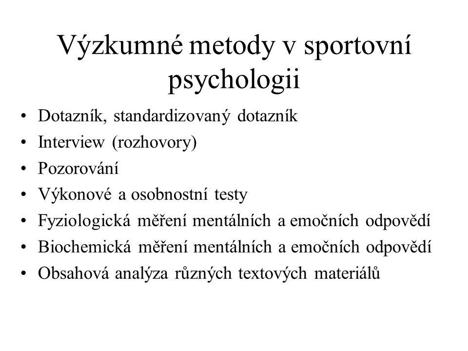 Výzkumné metody v sportovní psychologii Dotazník, standardizovaný dotazník Interview (rozhovory) Pozorování Výkonové a osobnostní testy Fyziologická m