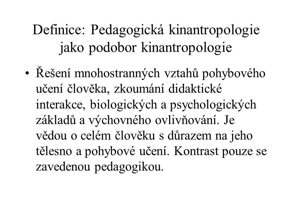 Definice: Pedagogická kinantropologie jako podobor kinantropologie Řešení mnohostranných vztahů pohybového učení člověka, zkoumání didaktické interakc
