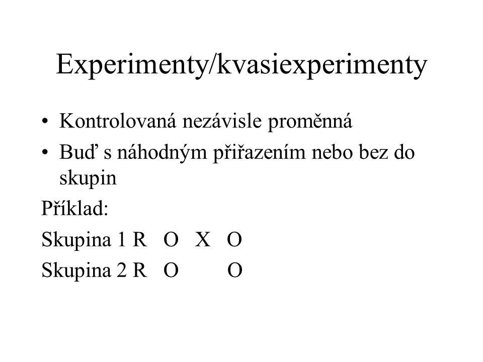 Experimenty/kvasiexperimenty Kontrolovaná nezávisle proměnná Buď s náhodným přiřazením nebo bez do skupin Příklad: Skupina 1 R O X O Skupina 2 R O O