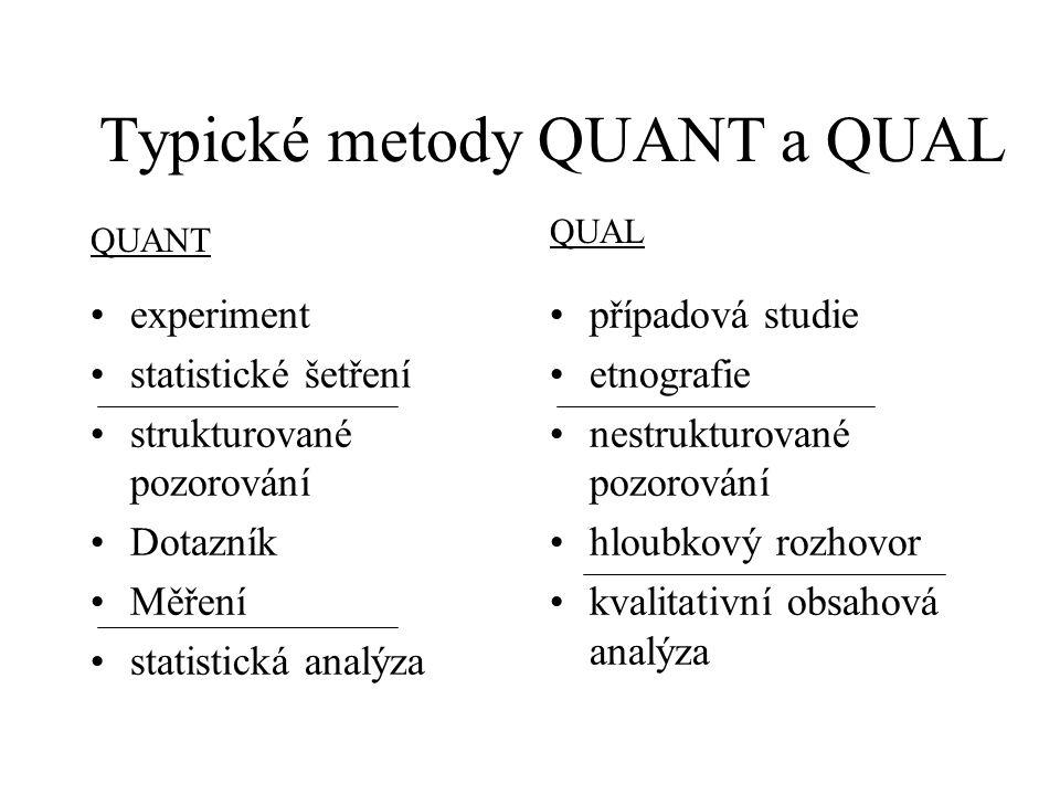 Typické metody QUANT a QUAL experiment statistické šetření strukturované pozorování Dotazník Měření statistická analýza případová studie etnografie ne