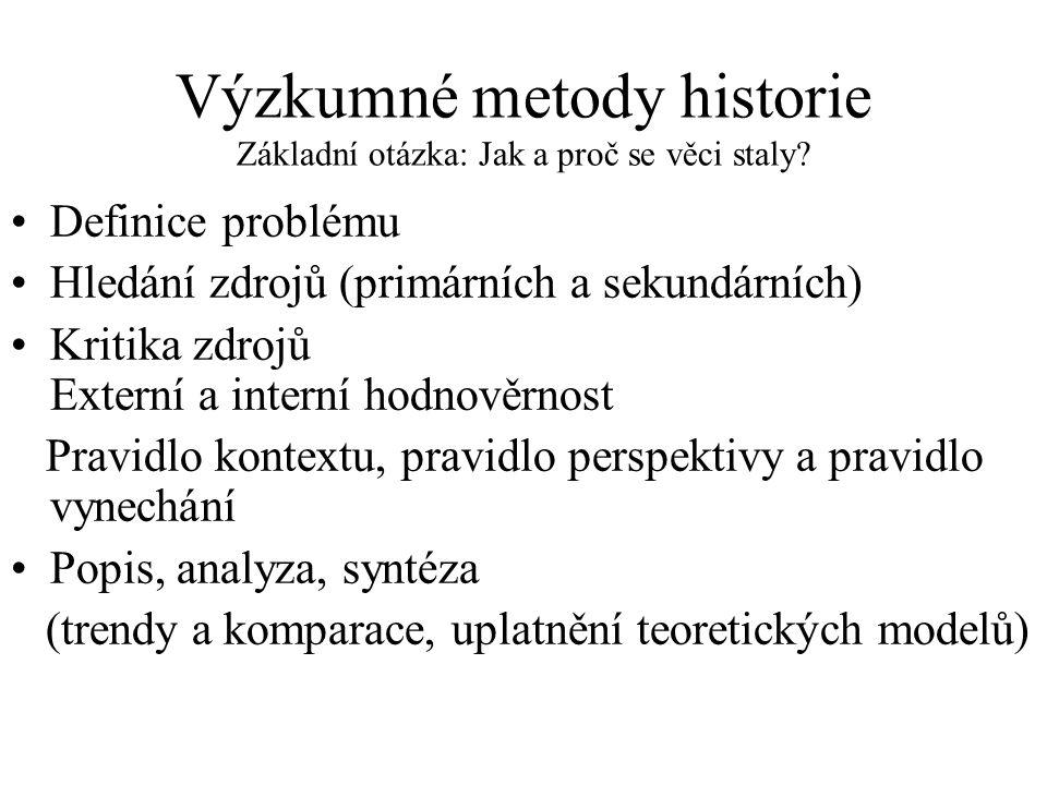 Výzkumné metody historie Základní otázka: Jak a proč se věci staly? Definice problému Hledání zdrojů (primárních a sekundárních) Kritika zdrojů Extern
