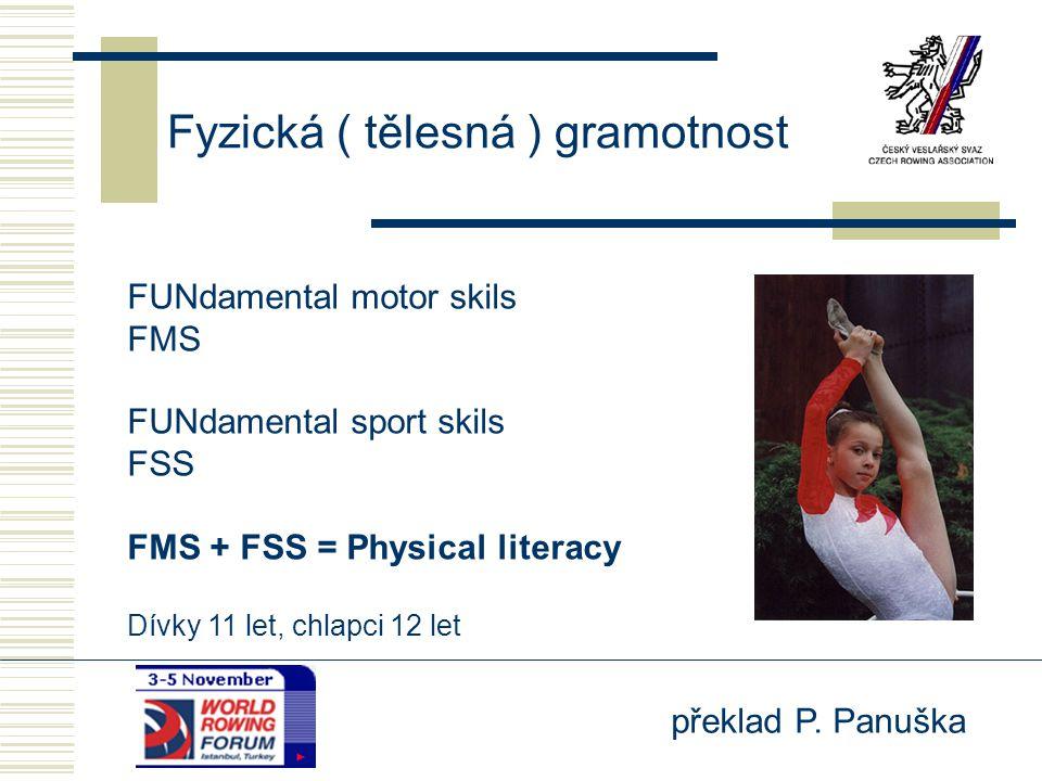 překlad P. Panuška Fyzická ( tělesná ) gramotnost FUNdamental motor skils FMS FUNdamental sport skils FSS FMS + FSS = Physical literacy Dívky 11 let,