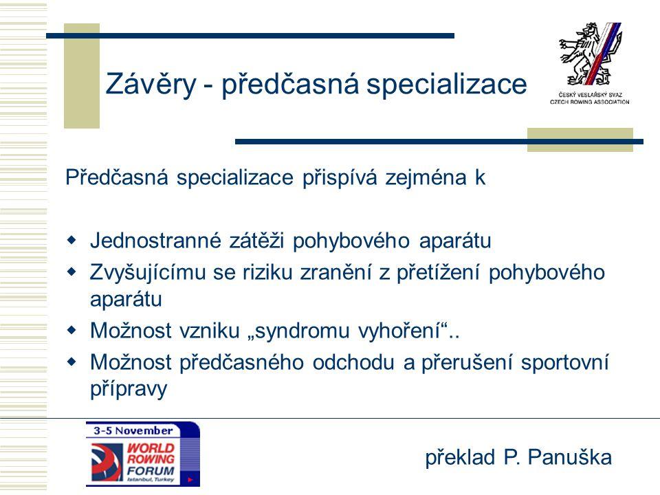 překlad P. Panuška Závěry - předčasná specializace Předčasná specializace přispívá zejména k  Jednostranné zátěži pohybového aparátu  Zvyšujícímu se