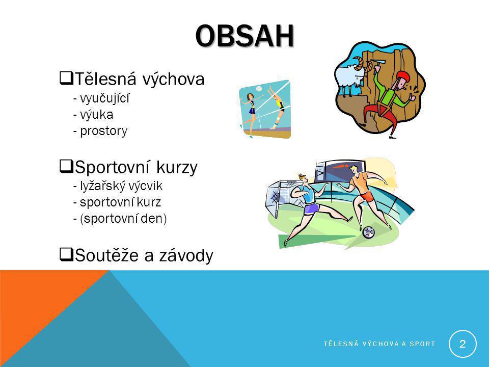 OBSAH  Tělesná výchova - vyučující - výuka - prostory  Sportovní kurzy - lyžařský výcvik - sportovní kurz - (sportovní den)  Soutěže a závody TĚLES