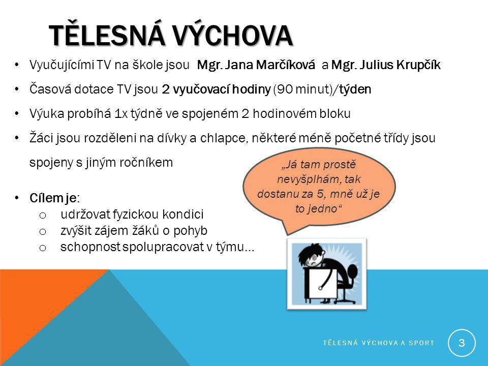 TĚLESNÁ VÝCHOVA Vyučujícími TV na škole jsou Mgr. Jana Marčíková a Mgr. Julius Krupčík Časová dotace TV jsou 2 vyučovací hodiny (90 minut)/týden Výuka