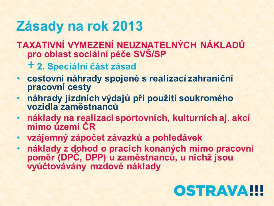 Zásady na rok 2013 TAXATIVNÍ VYMEZENÍ NEUZNATELNÝCH NÁKLADŮ pro oblast sociální péče SVŠ/SP + 2. Speciální část zásad cestovní náhrady spojené s reali