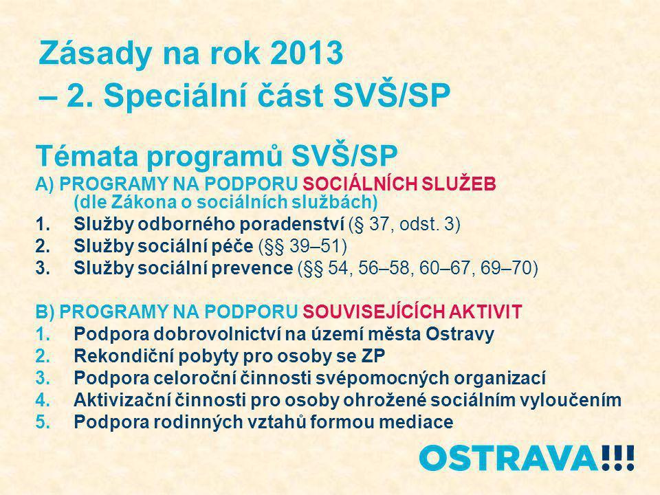 Zásady na rok 2013 – 2. Speciální část SVŠ/SP Témata programů SVŠ/SP A) PROGRAMY NA PODPORU SOCIÁLNÍCH SLUŽEB (dle Zákona o sociálních službách) 1.Slu