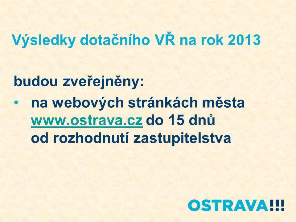 Výsledky dotačního VŘ na rok 2013 budou zveřejněny: na webových stránkách města www.ostrava.cz do 15 dnů od rozhodnutí zastupitelstva www.ostrava.cz