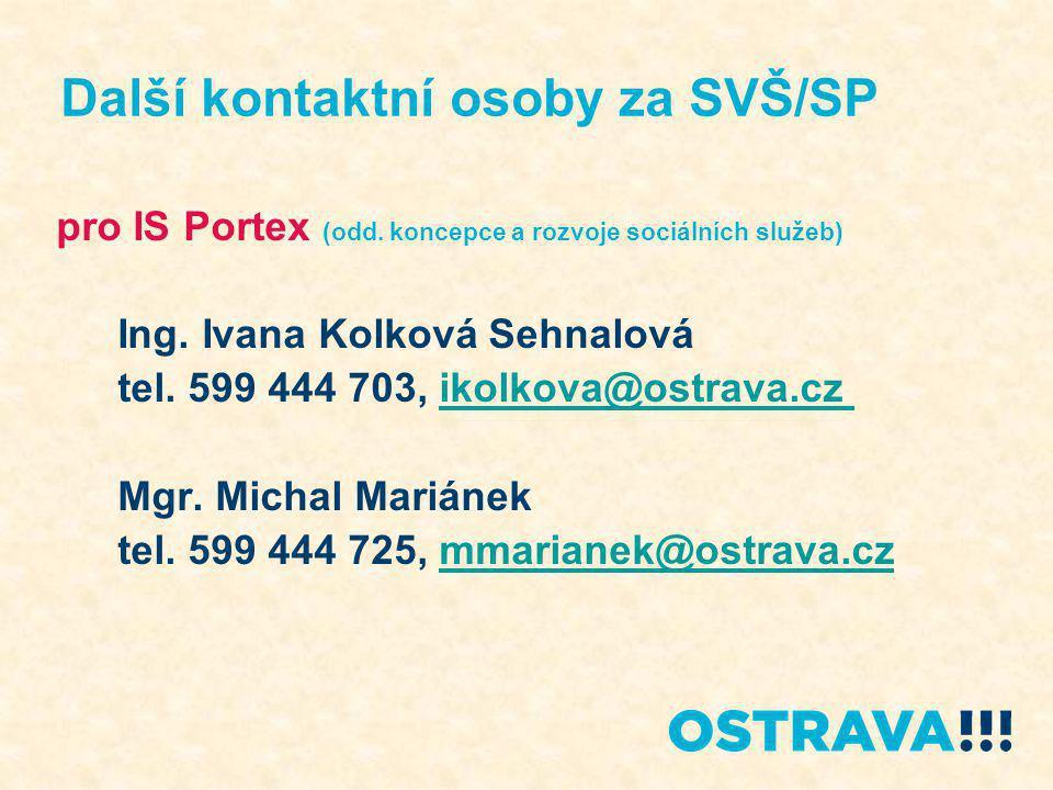 pro IS Portex (odd. koncepce a rozvoje sociálních služeb) Ing. Ivana Kolková Sehnalová tel. 599 444 703, ikolkova@ostrava.cz ikolkova@ostrava.cz Mgr.