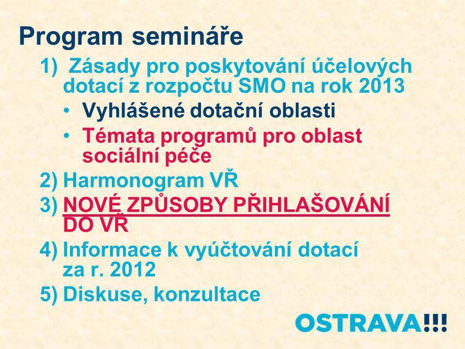 Program semináře 1) Zásady pro poskytování účelových dotací z rozpočtu SMO na rok 2013 Vyhlášené dotační oblasti Témata programů pro oblast sociální p