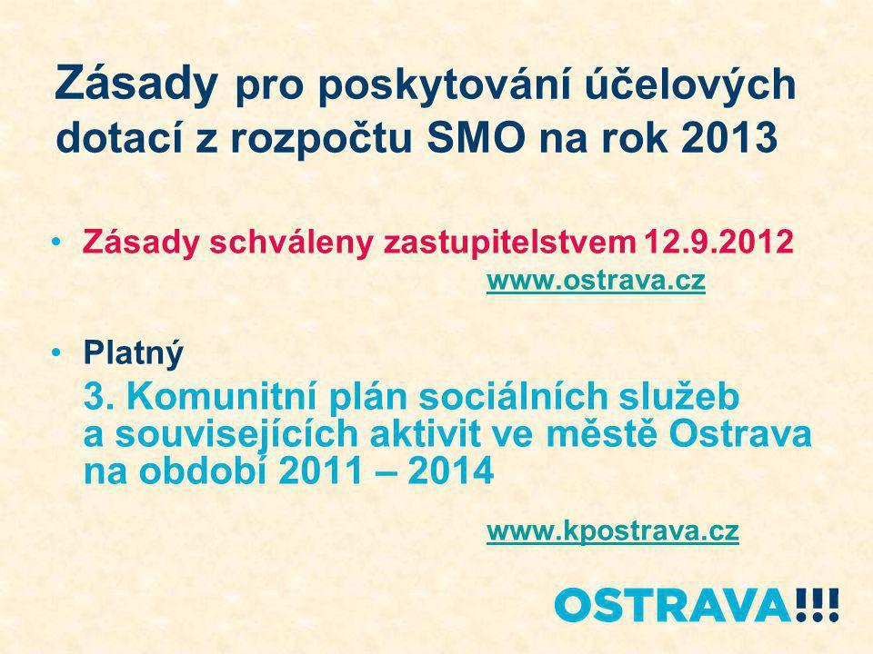Zásady pro poskytování účelových dotací z rozpočtu SMO na rok 2013 Zásady schváleny zastupitelstvem 12.9.2012 www.ostrava.cz Platný 3.