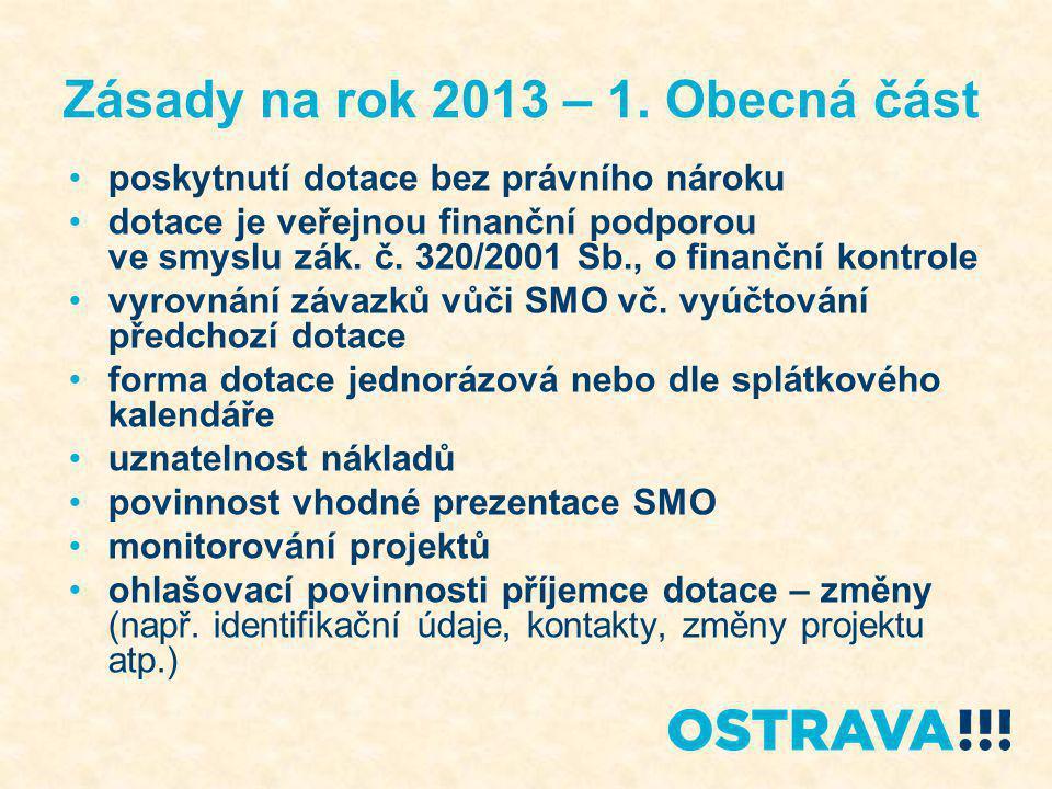 Zásady na rok 2013 – 1. Obecná část poskytnutí dotace bez právního nároku dotace je veřejnou finanční podporou ve smyslu zák. č. 320/2001 Sb., o finan