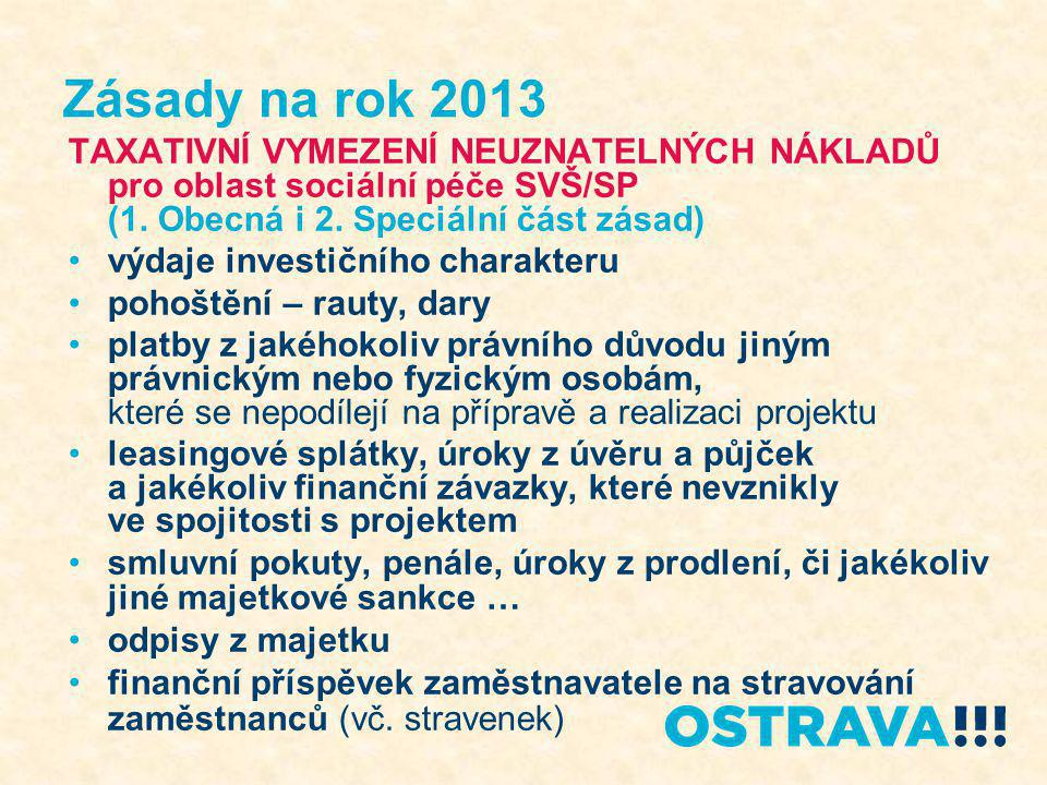 Zásady na rok 2013 TAXATIVNÍ VYMEZENÍ NEUZNATELNÝCH NÁKLADŮ pro oblast sociální péče SVŠ/SP (1. Obecná i 2. Speciální část zásad) výdaje investičního