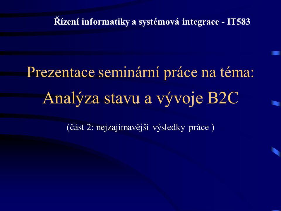 Prezentace seminární práce na téma: Analýza stavu a vývoje B2C (část 2: nejzajímavější výsledky práce ) Řízení informatiky a systémová integrace - IT5
