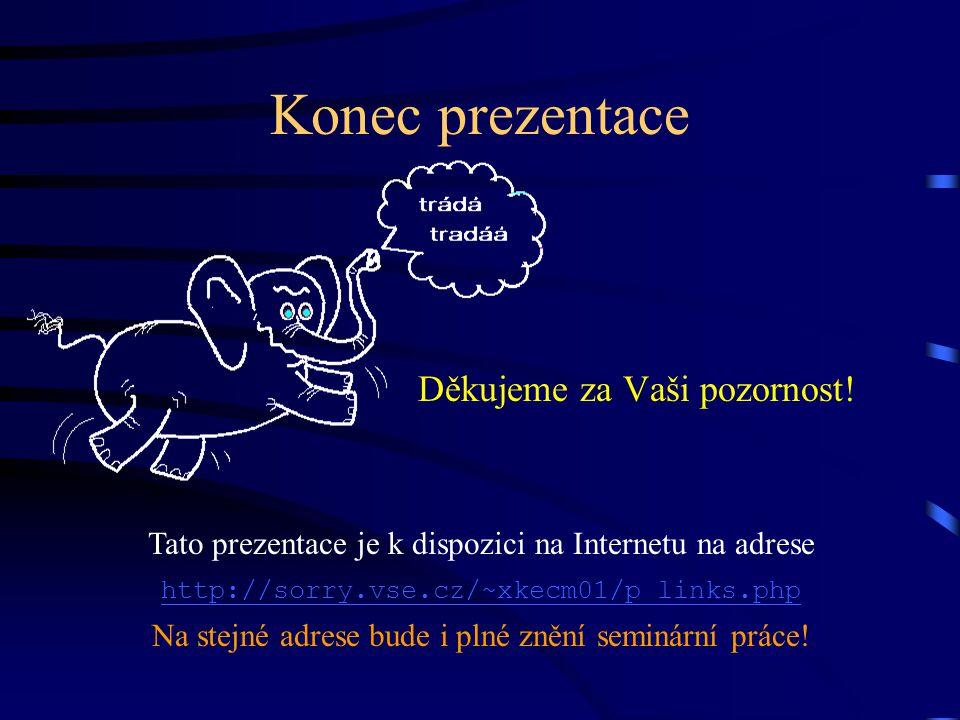 Konec prezentace Tato prezentace je k dispozici na Internetu na adrese http://sorry.vse.cz/~xkecm01/p_links.php Na stejné adrese bude i plné znění sem