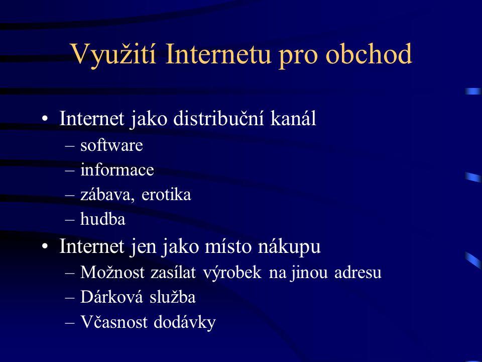 Využití Internetu pro obchod Internet jako distribuční kanál –software –informace –zábava, erotika –hudba Internet jen jako místo nákupu –Možnost zasí