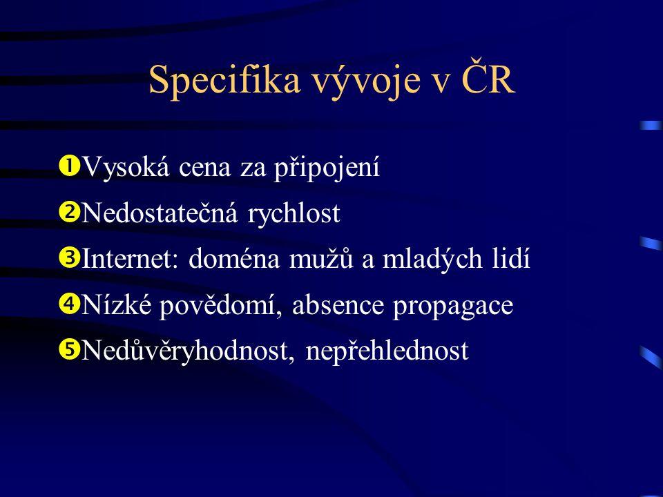 Specifika vývoje v ČR  Vysoká cena za připojení  Nedostatečná rychlost  Internet: doména mužů a mladých lidí  Nízké povědomí, absence propagace 