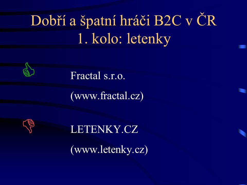 Dobří a špatní hráči B2C v ČR 1. kolo: letenky  Fractal s.r.o. (www.fractal.cz)  LETENKY.CZ (www.letenky.cz)