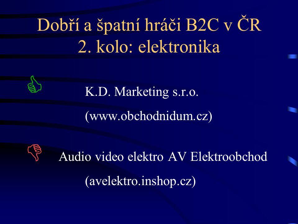 Dobří a špatní hráči B2C v ČR 2. kolo: elektronika  K.D. Marketing s.r.o. (www.obchodnidum.cz)  Audio video elektro AV Elektroobchod (avelektro.insh