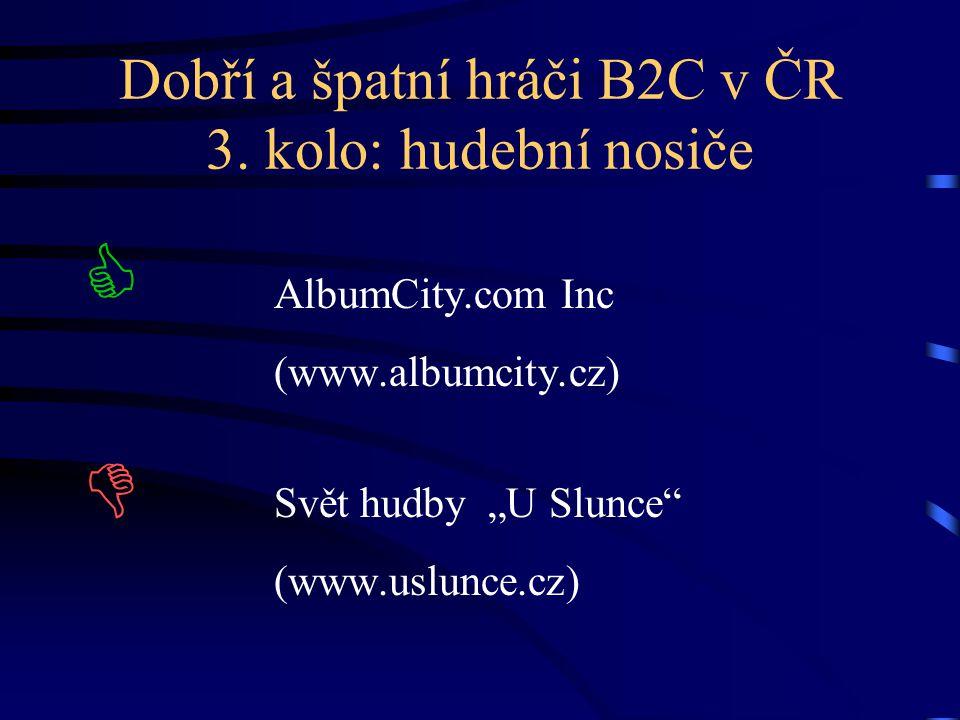 """Dobří a špatní hráči B2C v ČR 3. kolo: hudební nosiče  AlbumCity.com Inc (www.albumcity.cz)  Svět hudby """"U Slunce"""" (www.uslunce.cz)"""