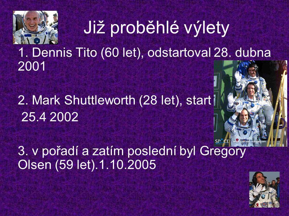 Již proběhlé výlety 1. Dennis Tito (60 let), odstartoval 28. dubna 2001 2. Mark Shuttleworth (28 let), start 25.4 2002 3. v pořadí a zatím poslední by