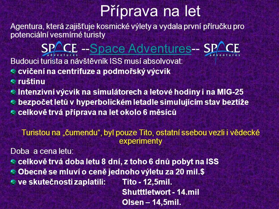 Příprava na let Agentura, která zajišťuje kosmické výlety a vydala první příručku pro potenciální vesmírné turisty --Space Adventures--Space Adventure