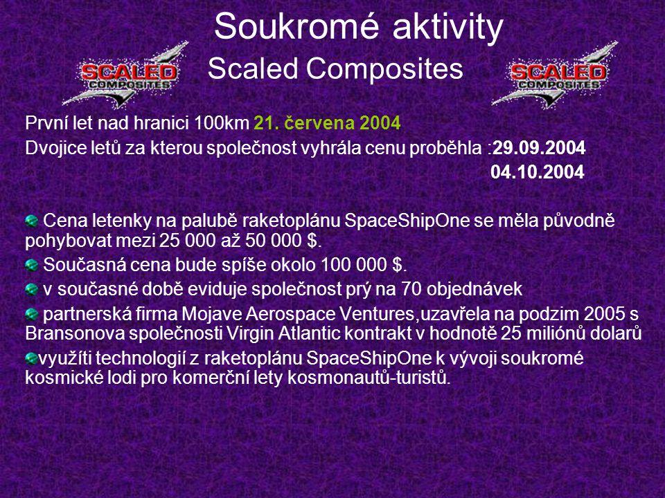 Soukromé aktivity Scaled Composites První let nad hranici 100km 21. červena 2004 Dvojice letů za kterou společnost vyhrála cenu proběhla :29.09.2004 0