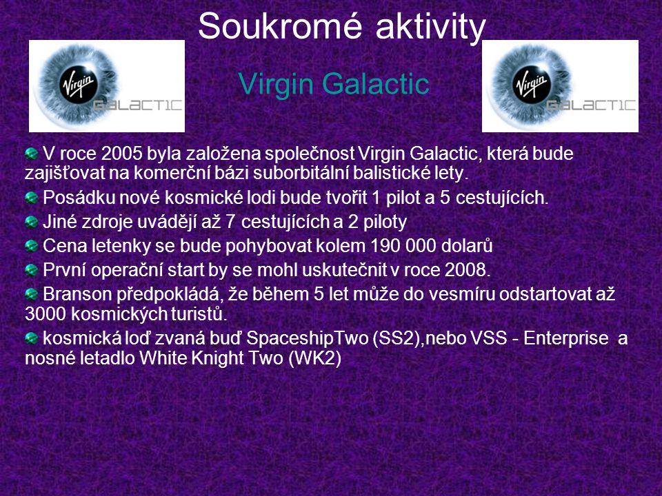 Soukromé aktivity Virgin Galactic V roce 2005 byla založena společnost Virgin Galactic, která bude zajišťovat na komerční bázi suborbitální balistické